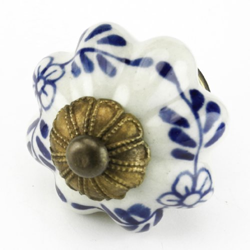 Blue Floral Ceramic Cabinet Knob, Drawer Pull & Handles Set/2pc C68FF Hand Glazed Knobs with Antique Brass Florentine Hardware. Ceramic Knobs, Handles & Pulls for Dresser, Drawers, Cabinets & (Flower Pull Antique)