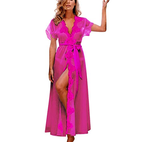 Clearance!Napoo Women Charming Sheer Bathrobes Solid Open Front Floral Long Sleepwear Dress with Bowknot Belt (XXL, Hot Pink)