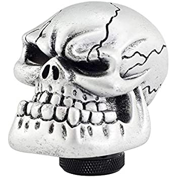 Arenbel Universal Manual and Automatic Car Gear Stick Shifter Knob Silver Skull Shift Lever Fit Most Cars ACN305-BL305B