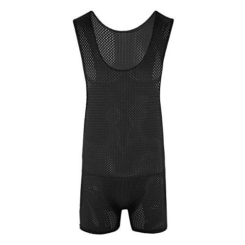 ranrann Men's Fishnet Mesh Breathable One Piece Wrestling Singlet Gym Sport Bodysuit Leotard Jumpsuits Black Large