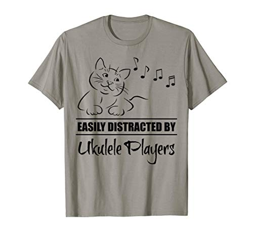Curious Cat Easily Distracted by Ukulele Players Whimsical T-Shirt