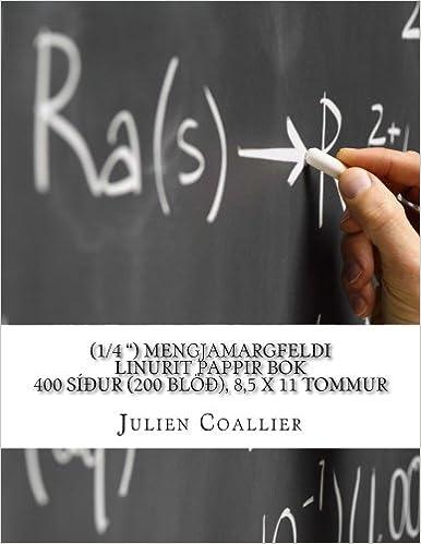 (1/4 ') Mengjamargfeldi Linurit Pappir Bok: 400 siour (200 bloo), 8, 5 x 11 tommur