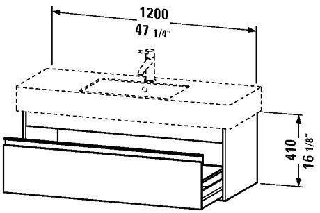 Vanity unit wall-mounted, 2 drawers, 21 5/8