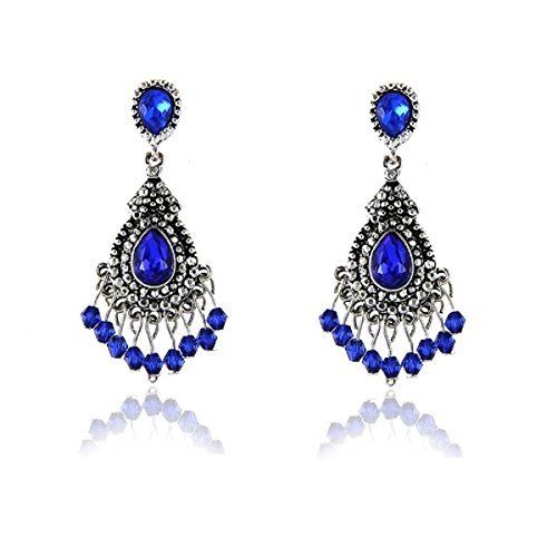 Gorgeous Cobalt Blue Austrian Crystal Dangle Boho Earrings