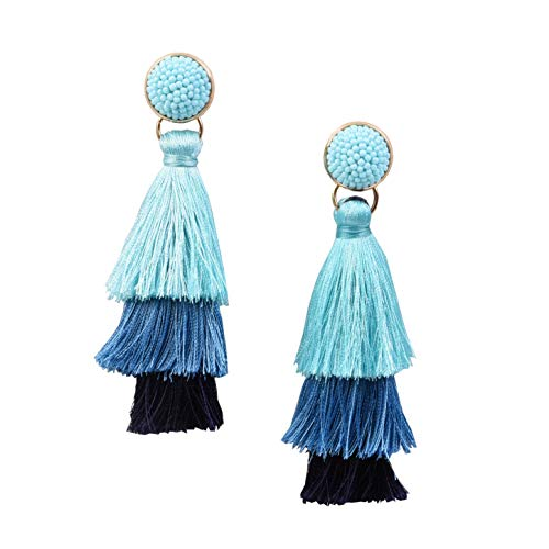 RIVERTREE Layered Tassel Earring Beaded Statement Fringe | Blue Aqua Shade 3 Tiered Long Vintage Chandelier Drop Dangle Earring For Women