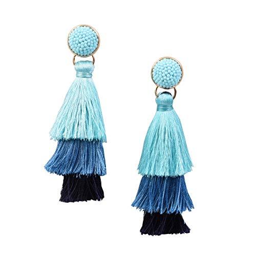 (RIVERTREE Layered Tassel Earring Beaded Statement Fringe | Blue Aqua Shade 3 Tiered Long Vintage Chandelier Drop Dangle Earring For Women)