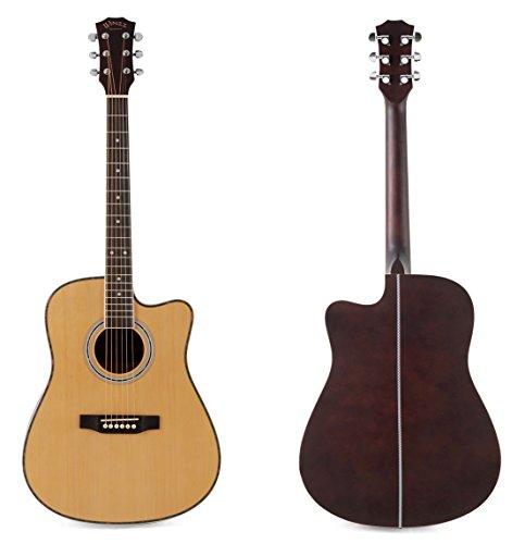 winzz acoustic guitar full size 41 inch spruce cutaway guitar beginner starter bundle with big. Black Bedroom Furniture Sets. Home Design Ideas