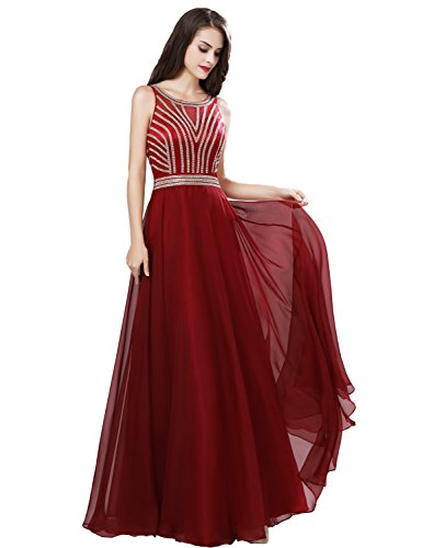 (Belle House Prom Dresses 2018 Long with Beading Formal Evening Gowns A Line Party Dress Cocktail Burgundy Ball Gown)