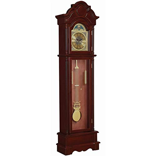 Bowery Hill Grandfather Clock with Adjustable Volume Digital Chime in Brown Red by BOWERY HILL
