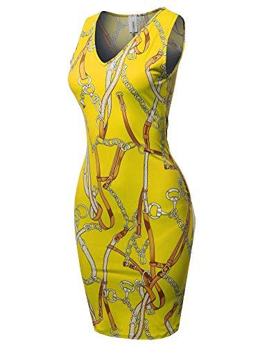(Casual V-Neck Sleeveless Sexy Body-Con Mini Dress - Made in USA Yellow 3XL)