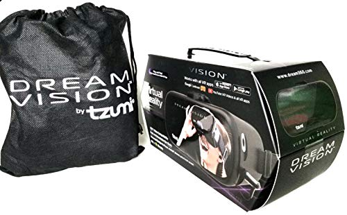 Tzumi Dream Vision Virtual Reality Smartphone Headset, Retracteable Built-in Ear Buds,fits all phones up to 6 inch, 360 Video Capability, Lightweight with high durability, Works with all VR apps. Blk]()