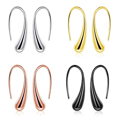 4 Pairs Multiple Dainty Silver Thread Drop Earrings Rose Gold Teardrop Black Novelty Earrings Dangle Gold Gift Set for Women Girls (4 ()