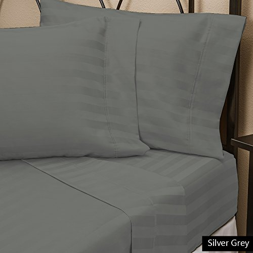 Both Pattern Solid/Stripe 1-Piece- Fitted- Sheet with 21-25 inches Extra Fit Deep Pocket Hotel Finish Adjustable Room 1000 Thread Count 100% Egyptian Cotton (Cal-King , Stripe , Silver Grey). (25 Inch Sheet)