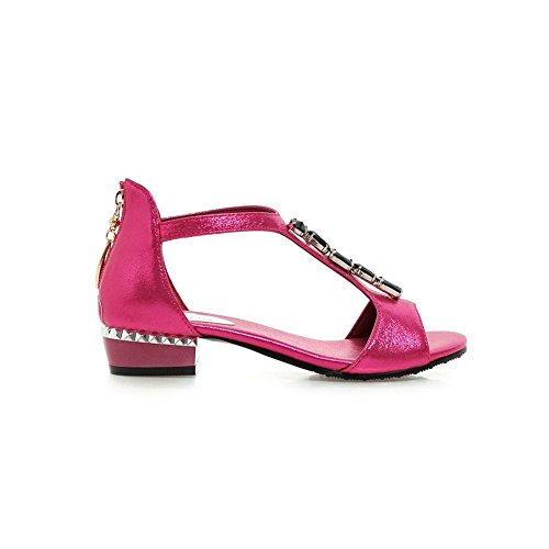 Adee Kristalle Reißverschluss Polyurethan Damen Sandalen, Rot - Pink - Größe: 34
