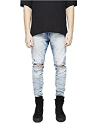 Mens Jeans Thin Stylish Designer Denim Tapered Trousers Skinny Ripped Distressed