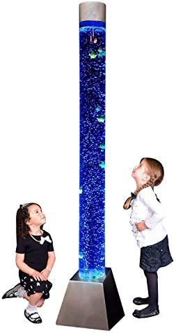 Playlearn Sensory LED Bubble Tube – 6 Foot Tank with Fake Fish and Translucent Balls, APP Controlled – Large Floor Lamp with 8 Changing Lights Colors – Stimulating Home and Office D cor