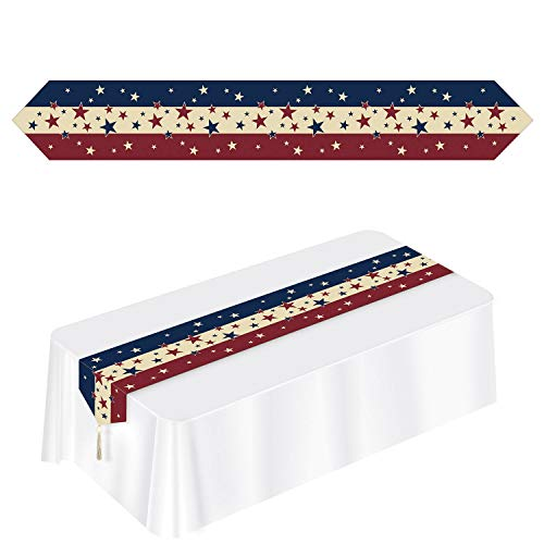 (SRW1961 Patriotic Flag Fourth of July red White Blue Stars Stripes Americana Table Runner Placemats)