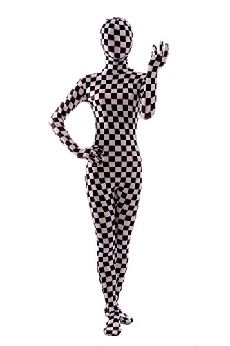 - 41ETq1JjlgL - Nedal Checkered Bodysuit Costume For Women Halloween Onesie Lycra Zentai