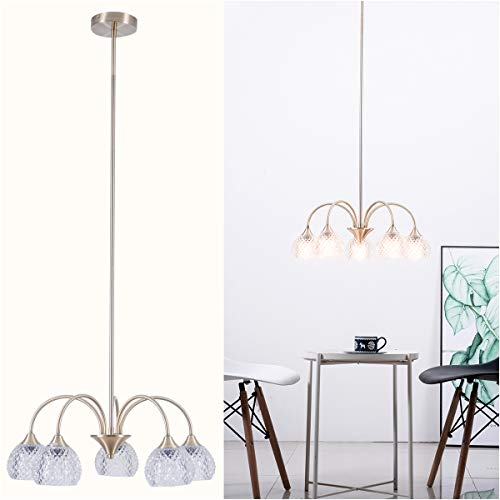 Retro 5-Light Chandeliers Glam Pendant Light Fixture with Clear Glass Shade Antique Brass Finish for Dining Room, Bedroom, Kitchen
