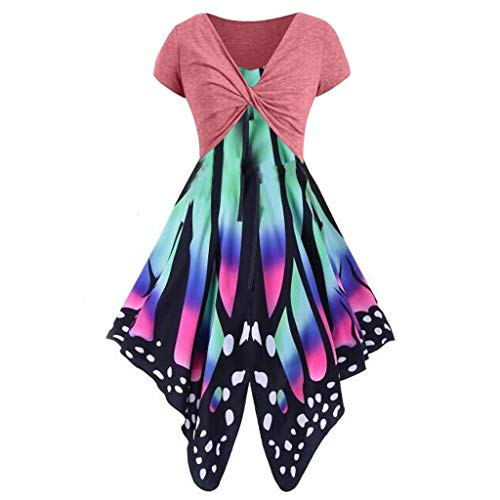 Mini Dress Suits for Women,SMALLE◕‿◕ Women's Short Sleeve Bow Knot Bandage Top erfly Print Mini Dress Suits T-Shirt Watermelon Red