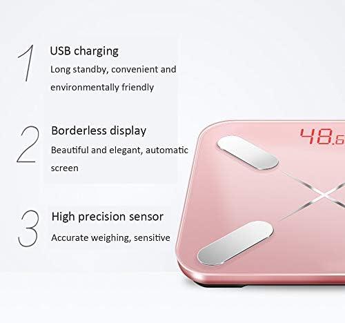 DPFXNN Bilancia pesapersone Digitale, 4 sensori di precisione Bilancia pesapersone con Tecnologia ON/off Automatica, Bilancia pesapersone in Vetro temperato Ampia e Robusta.