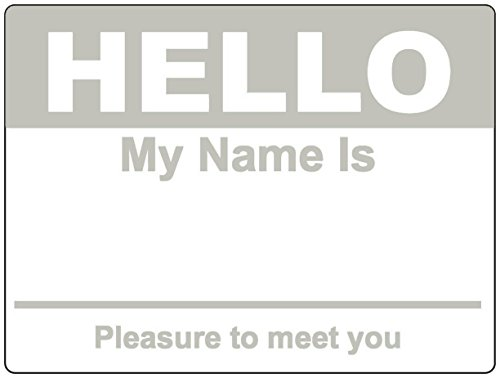 Gray Hello My Name Is Name Badge Tag Labels Stickers - 1 Roll