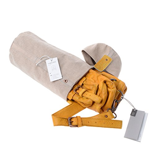 Mochila piel teñida en prenda estilo vivido vintage 2 correas DUDU Saffron Yellow