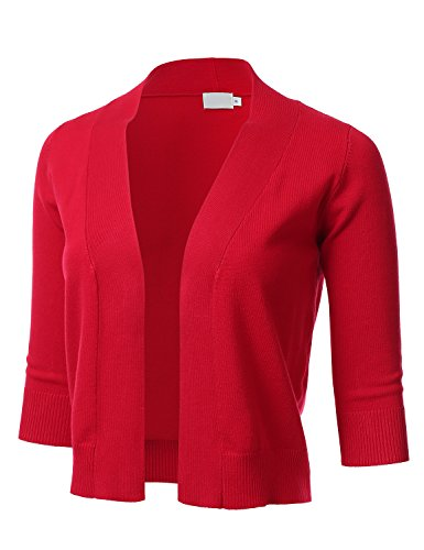 FLORIA Womens Classic 3/4 Sleeve Open Front Cropped Cardigan RED M