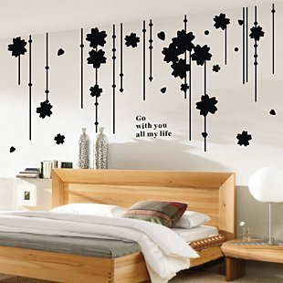 Amazon.com: Black Flowers Bead Curtain Wall Decals, Living Room ...