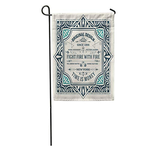 Engraving Western (Semtomn Garden Flag Beer Vintage Label Western Antique Retro Badge Border Classic Engraving Home Yard House Decor Barnner Outdoor Stand 28x40 Inches Flag)