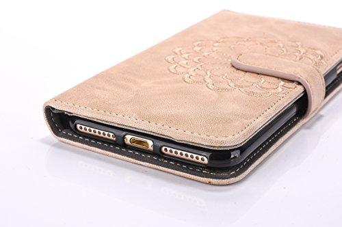 iPhone 7 Étui en PU Cuir pour iPhone 7 Housse,Vandot iPhone 7 Coque Pochette Portefeuille de Protection Case Cas Flip magnétique avec support Béquille de carte Ultra Slim Fit Supporter Cuir Folio Poch
