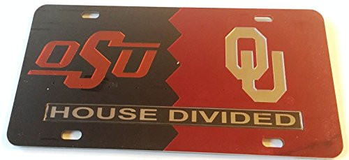 Oklahoma State Cowboys - Oklahoma Sooners - OSU - OU House Divided Mirrored Car Tag License Plate