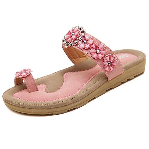 Rhinestone Flower Slide Sandal - Maybest Womens's Summer Flower Rhinestone Thong Sandals Bohemian Flip Flops Casual Shoes (Pink 8 B (M) US)
