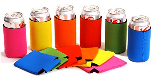 Tahoebay Neoprene Can Sleeves for Standard 12 Ounce Cans Blank Beer Coolers (Multicolor, 12) ()