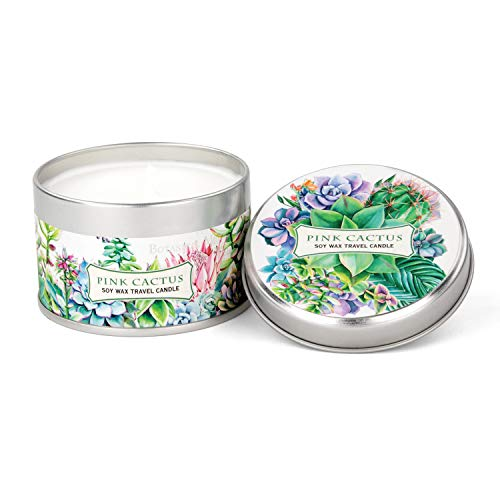 - Michel Design Works Soy Wax Candle in Travel Tin Size, Pink Cactus