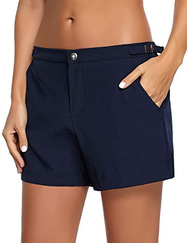 luvamia Women's Navy Blue Quick Dry Button Board Shorts Side Buckle Pockets Beach Swimsuit Bottom Large(US 12-14)
