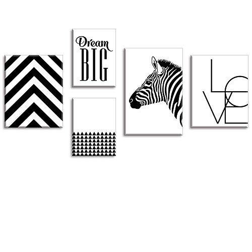 (Tku's 5 Pieces Abstract Quotes Canvas Wall Art, Black White Zebra Painting, Love Picture for Home Decor (Waterproof, Ready to Hang))