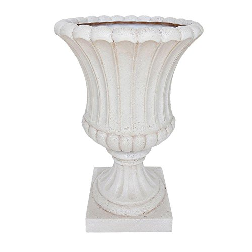 23 in. H Aged White Cast Stone Fluted Urn by MPG Sport