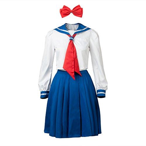 Cosfun Pretty Sailor Cosplay Crystal Ver School Uniform Dress Suit (Women XS, Venus Minako Aino(Crystal))