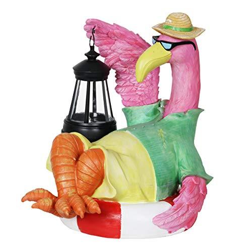 - Exhart Beach Bum Pink Flamingo Holding a Solar Lantern Garden Statue - Flamingo Statue Holding a Decorative Lantern w/Solar Accent Lights - Flamingo Decor for Garden, Yard, Patio 8