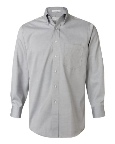 Van Heusen Men's Dress Shirt Regular Fit Non Iron Solid, French Grey, X-Large Long Sleeve Relaxed Fit Oxfords