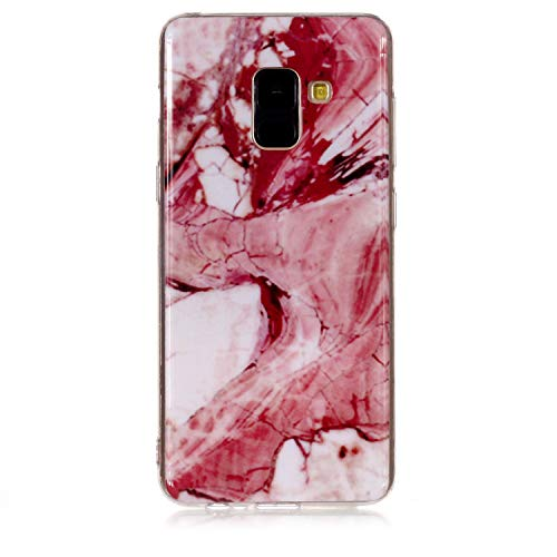for Samsung Galaxy A8 2018 Marble Case with Screen Protector,Unique Pattern Design Skin Ultra Thin Slim Fit Soft Gel Silicone Case,QFFUN Shockproof Anti-Scratch Protective Back Cover - Red Texture by QFFUN (Image #1)
