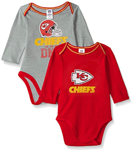 NFL Kansas City Chiefs Unisex-Baby 2-Pack Long-Sleeve Bodysuits, Red, 3-6 Months