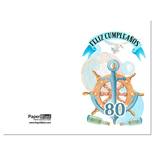 Amazon.com: Nautical Feliz Cumpleanos 80th Birthday Card in ...