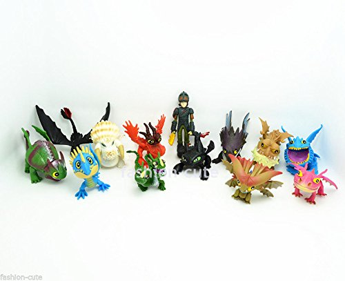 Shallen Lot 13 pcs How To Train Your Dragon Figure Hiccup Toothless Night Fury Nadder