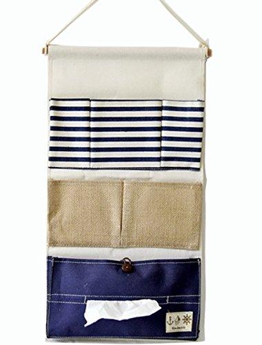 LINENLUX Linen Cotton Fabric Wall Door Cloth Hanging Storage Bag Home Organizer (Blue,11x21.2In)…