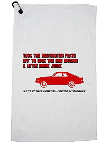 (Took Off Restrictor Plate Red Dragon Hotrod Golf Towel with Carabiner Clip)