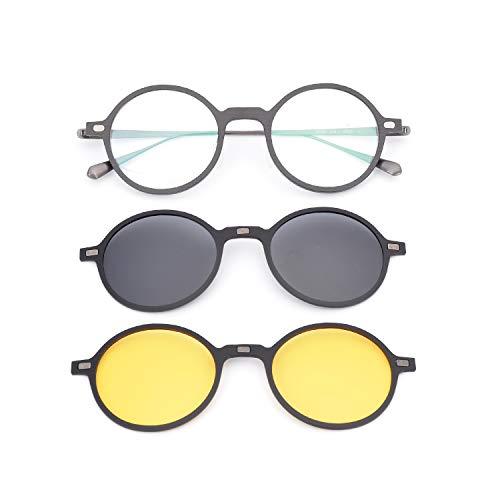GLASSESKING Eyeglass Frames With Magnetic Clip On Sunglasses Frames For Prescription Eyeglasses Carbon Fiber Titanium Optical (Silver) (Magnetic Eyeglass Frame)
