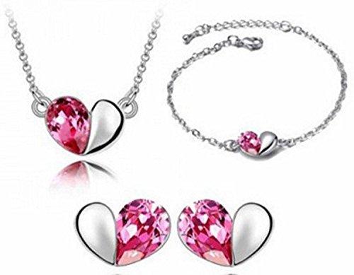 Heart Love Austrian Crystal (Shally Girl's Love Heart Austrian Crystal Necklace Bracelets Earrings Ensemble Fashion Jewelry Set)