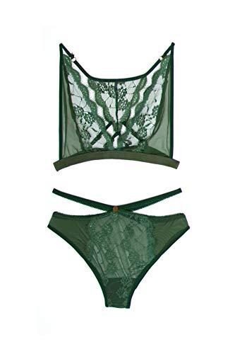 Yandy Women Zodiac Virgo Lace Racerback Two Pieces Lingerie Set Green Large ()